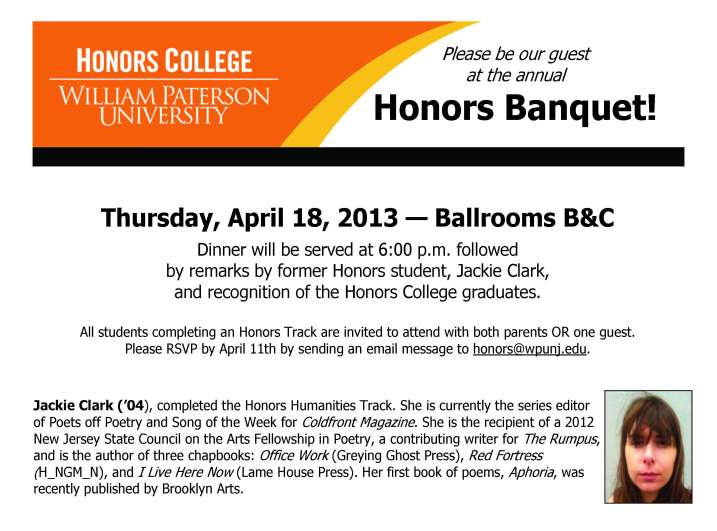 Honors College Banquet Invitation
